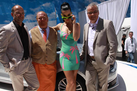 Katy Perry and Mario Batali at the VW Jetta premiere.